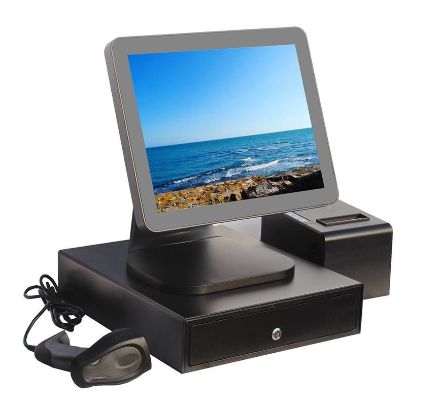Aluminium Alloy Point Of Sale Touch Screen Computer With Thermal Printer And Cash Drawer